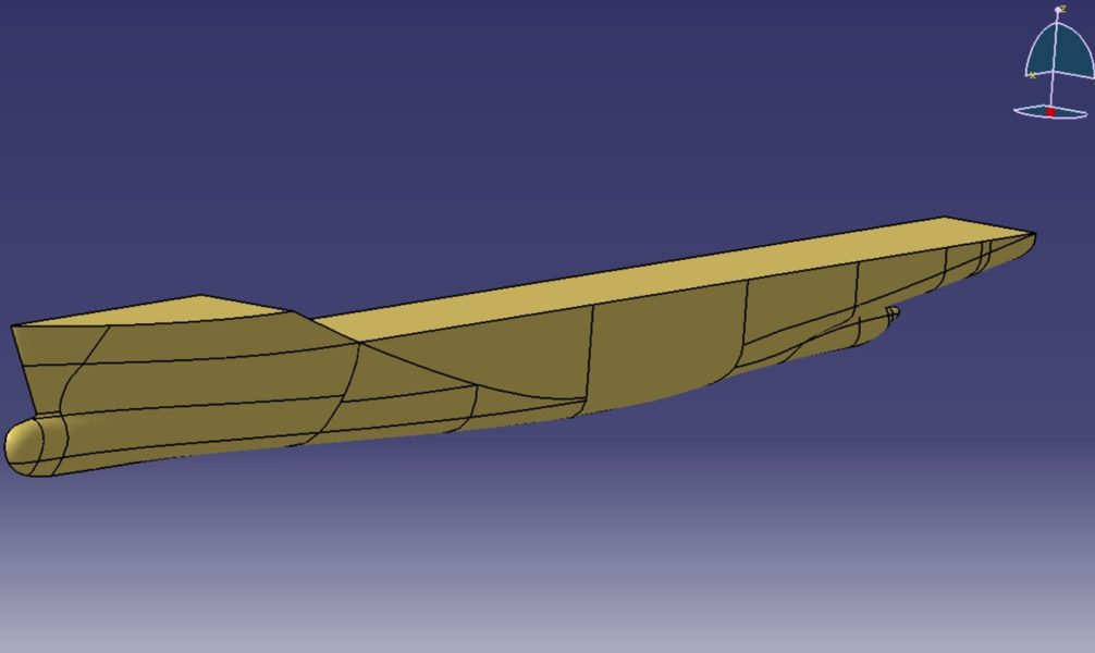 3D CAD representation of the ship hull reconstructed from 2D drawings.
