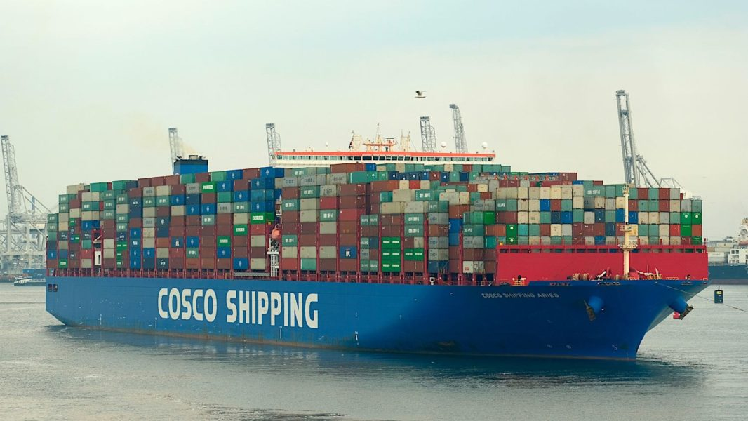 A fully loaded container ship. The hull is submerged maximizing the wetted surface and the drag.