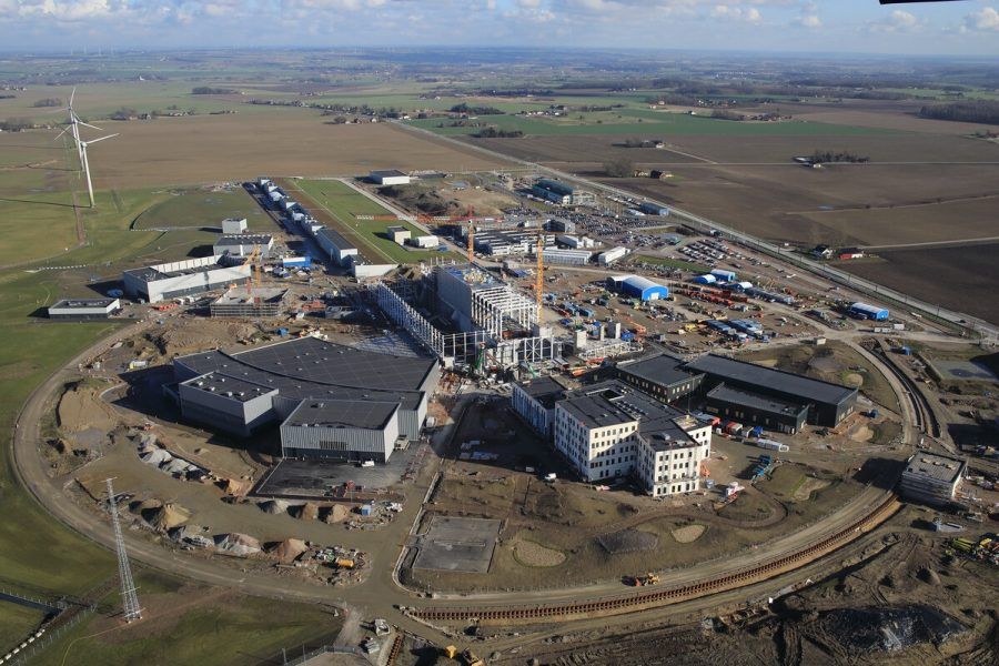 Recent aerial picture of the European Spallation Source (ESS) facility construction site located in Lund, Sweden.