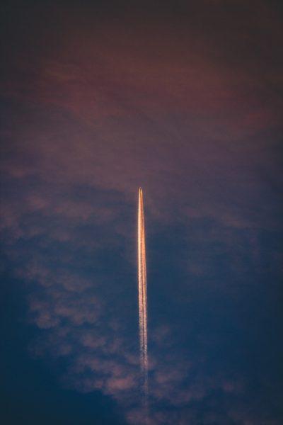 Aerospace rocket in flight