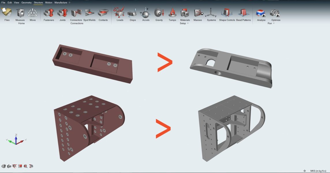 Original design space and final, production ready CAD model of the two brackets that were optimized.