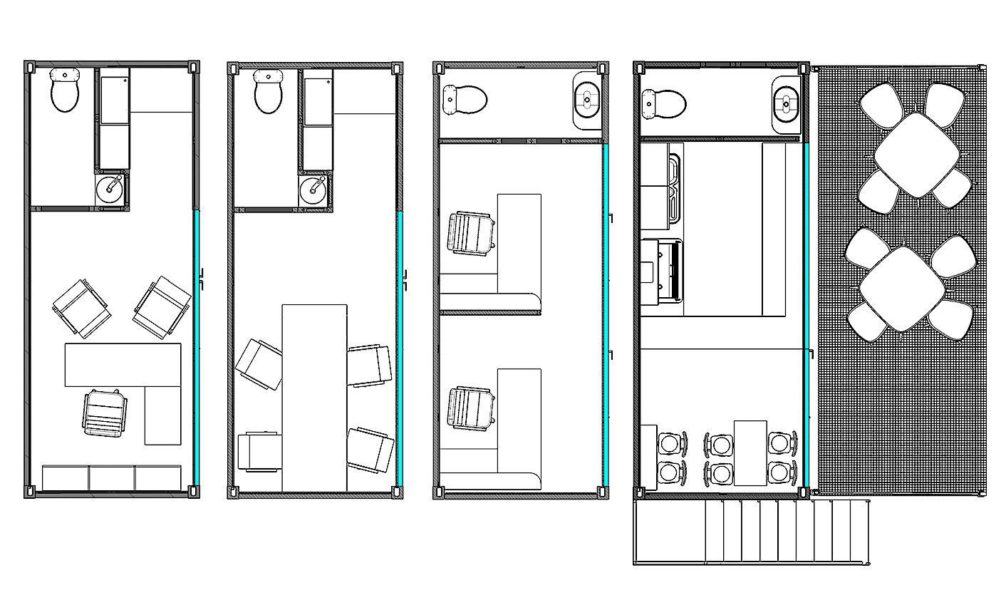 Comparative 2D top view of the container office multiple variants layouts.